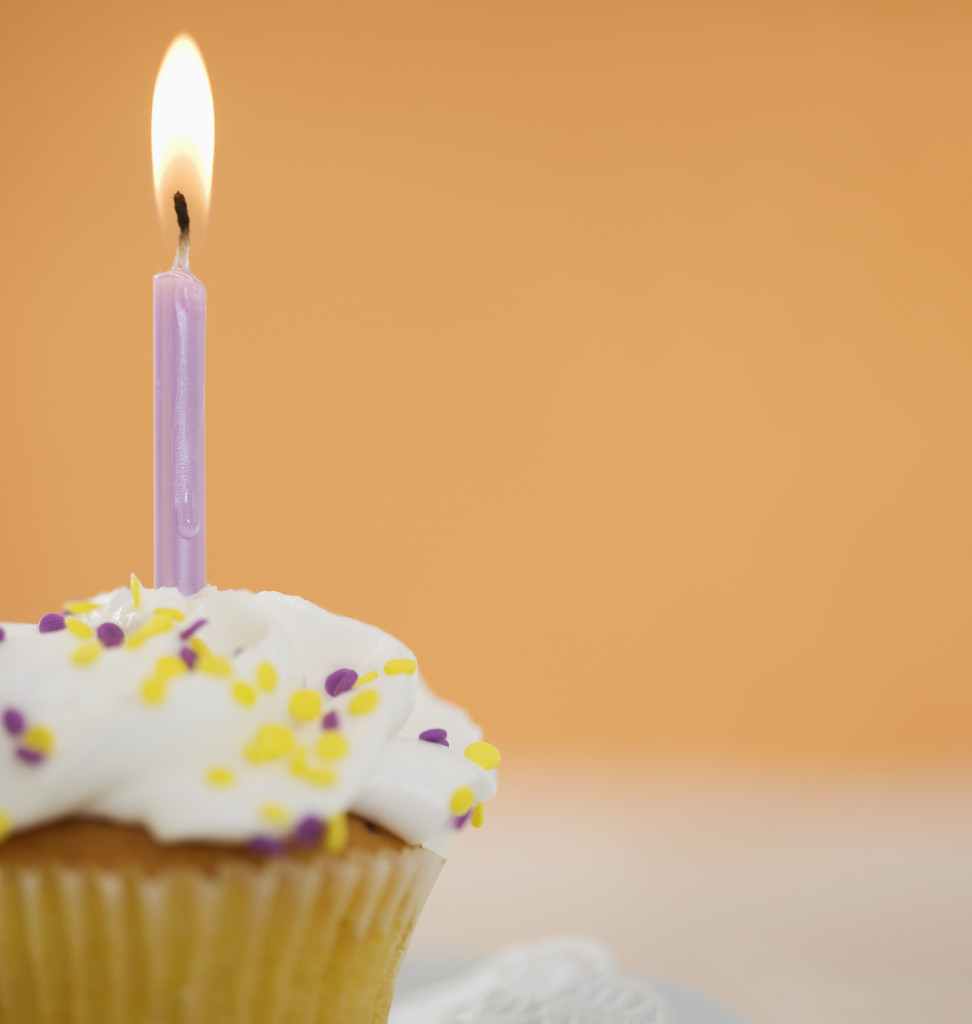 Birthday Cupcake With Lit Candle