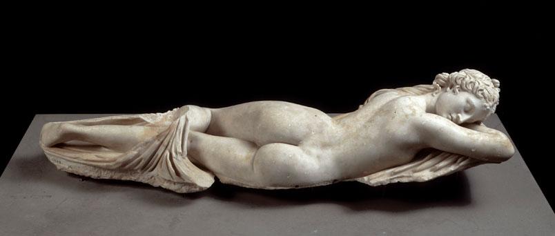 Sleeping Hermaphrodite, Roman, 2nd century AD; Marble.