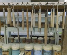 Sculpture and pottery tools in Beatrice Wood's studio, Ojai, California.