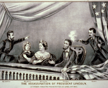 Currier and Ives depiction of Lincoln's assassination. L-to-r: Maj. Rathbone, Clara Harris, Mary Todd Lincoln, Pres. Lincoln, and John Wilkes Booth