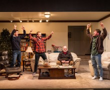 "L-R: Gary Wilmes, Frank Boyd, Richard Riehle and Brian Slaten in ""Straight White Men,"" written and directed by Young Jean Lee. ""Straight White Men"" makes its West Coast premiere from November 20 through December 20, 2015, at the Kirk Douglas Theatre in collaboration with Center for the Art of Performance at UCLA. For tickets and information, please visit CenterTheatreGroup.org or call (213) 628-2772. Contact: CTGMedia@CenterTheatreGroup.org / (213) 972-7376 Photo by Craig Schwartz"