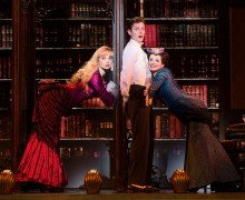 """National Touring Company. (L-R)  Kristen Beth Williams as Sibella Hallward, Kevin Massey as Monty Navarro and Adrienne Eller as Phoebe D'Ysquith in a scene from """"A Gentleman's Guide to Love & Murder."""" Directed by Darko Tresnjak, """"A Gentleman's Guide to Love & Murder"""" is part of the Center Theatre Group/Ahmanson Theatre's 2015-2016 season and will be presented March 22 through May 1, 2016. For season tickets and information, please visit CenterTheatreGroup.org or call (213) 972-4444. Contact: CTGMedia@CenterTheatreGroup.org / (213) 972-7376 Photo by Joan Marcus."""