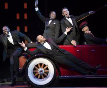 Joshua Henry, Brandon Victor Dixon, Billy Porter and Brian Stokes Mitchell, with Richard Riaz Yoder in Shuffle Along, or The Making of the Musical Sensation of 1921 and All That Followed, featuring music and lyrics by Noble Sissle and Eubie Blake, book by F.E. Miller and Aubrey Lyles, with a new book and direction by George C. Wolfe and choreography by Savion Glover, at The Music Box Theatre (239 West 45th Street).