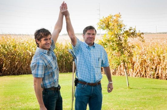 Zac Efron (r) as Dean and Dennis Quaid as Henry; Photo by Matt Dinerstein, Courtesy of Sony Pictures Classics