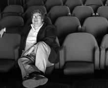 Roger Ebert in screening room for photo shoot for People Weekly, June 13, 1984; Chicago. Courtesy Sundance Institute.