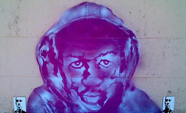 Street art images of Trayvon Martin have begin to crop up in American cities, like this example in Downtown LA's Arts District. Photo by Lori Zimmerman.