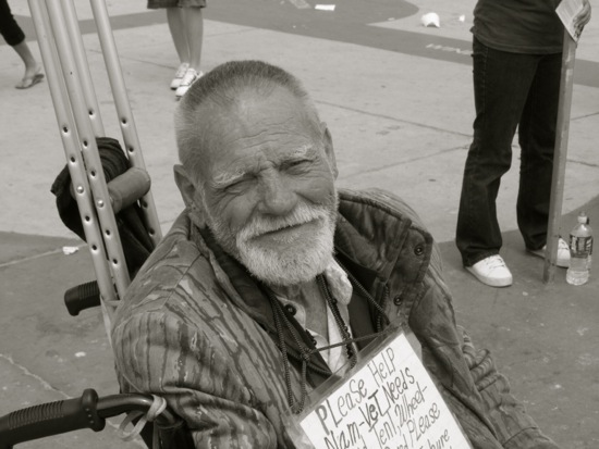 A proud Viet Nam vet poses for the camera. Venice Boardwalk, June, 2011.