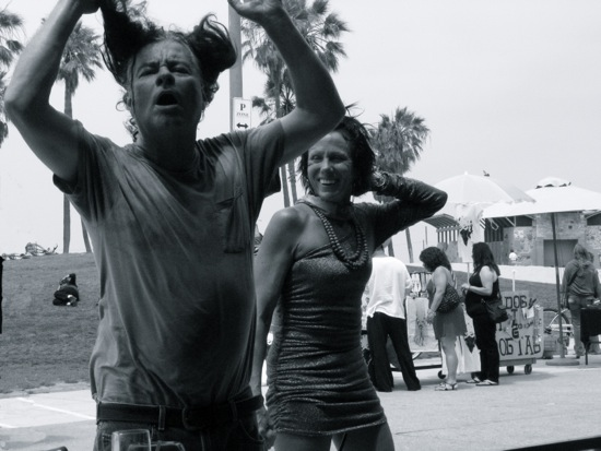 Street poets, dancing on the 4th of July. Venice Boardwalk, July, 2010