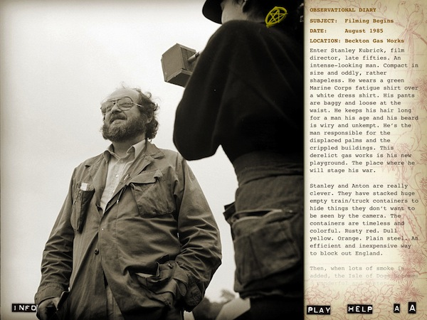Director Stanley Kubrick in 'Full Metal Jacket Diary'