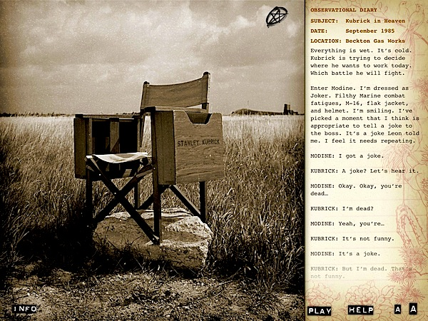 Stanley Kubrick's director chair: an image from 'Full Metal Jacket Diary'