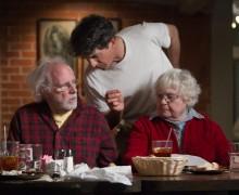 (Left to right) Bruce Dern,  Alexander Payne and June Squibb on the set of NEBRASKA.