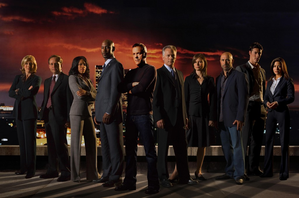 James Morrison (right of Kiefer Sutherland) with his castmates from season 6 of 24