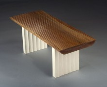 """Fluted Coffee Table by Peter Korn, walnut and maple (38""""x16""""x15""""), 2008  Photo credit: Jim Dugan"""