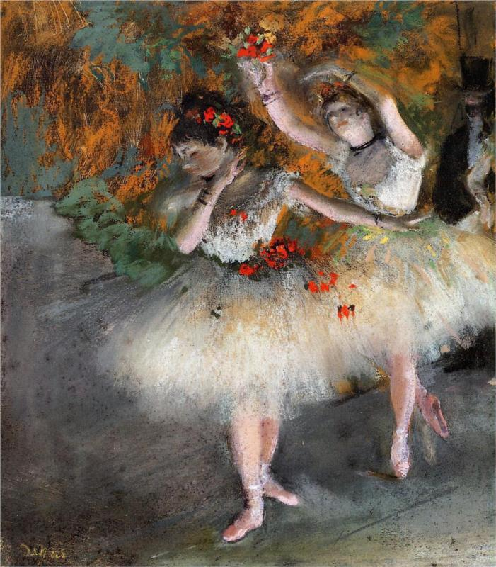 Two Dancers Entering the Stage, (1878), by Edgar Degas, courtesy of Wikipaintings