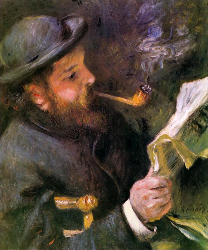 Claude Monet Reading, (1872), by Jean August Renoir, courtesy of Wikipaintings