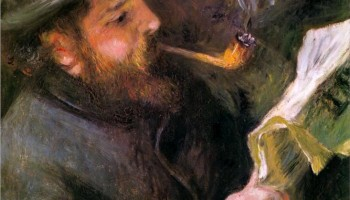 Claude Monet Reading, (1872) by Jean August Renoir, courtesy of Wikipaintings