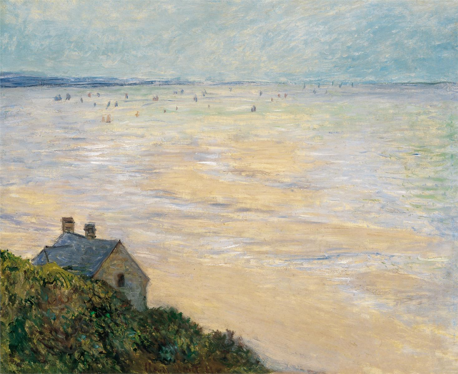 The Hut at Trouville, Low Tide, by Claude Monet, (1881), courtesy of Wikipaintings