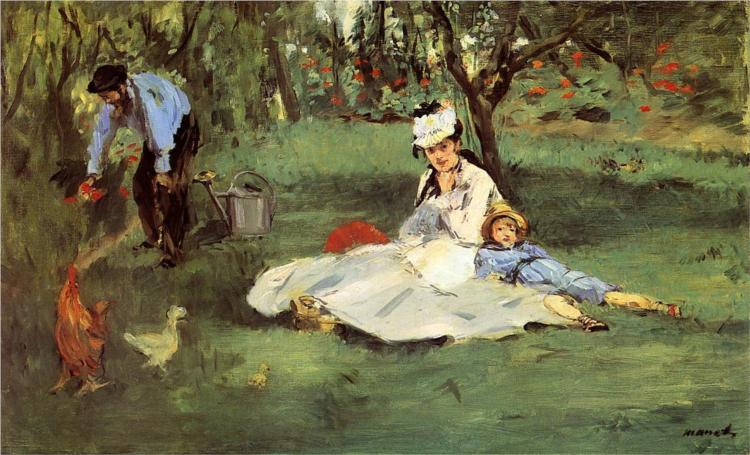 The Monet family in their garden at Argenteuil, (1864) by Claude Monet