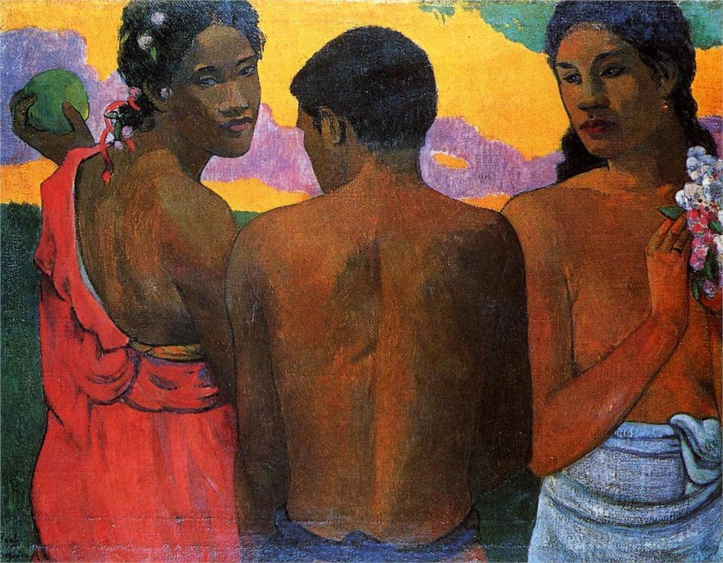 Three Tahitians, (1899) by Paul Gaugin, courtesy of Wikipaintings