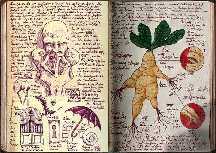 A page from Guillermo del Toro's sketchbook reveals designs for 'At the Mountains of Madness'