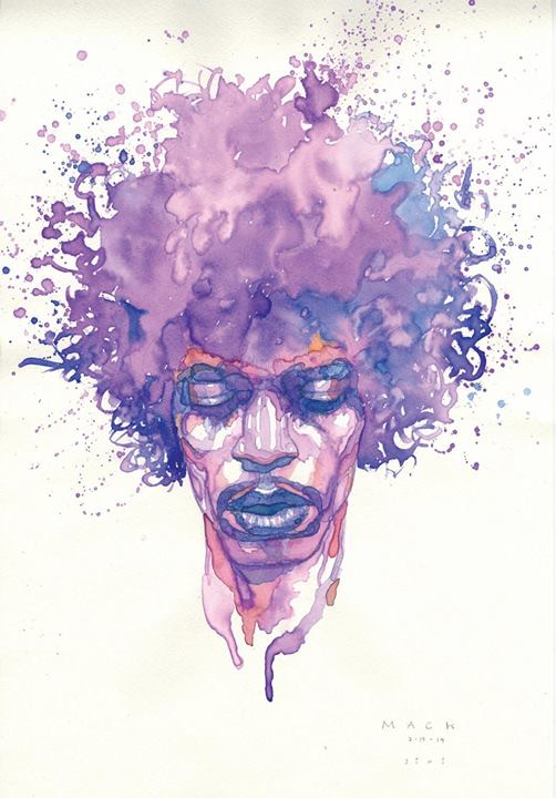 David's watercolor of Jimi Hendrix