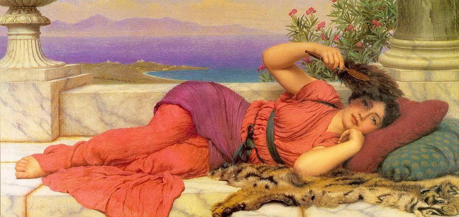 Noon Day Rest by John William Godward, (1910), courtesy of Wikipaintings.