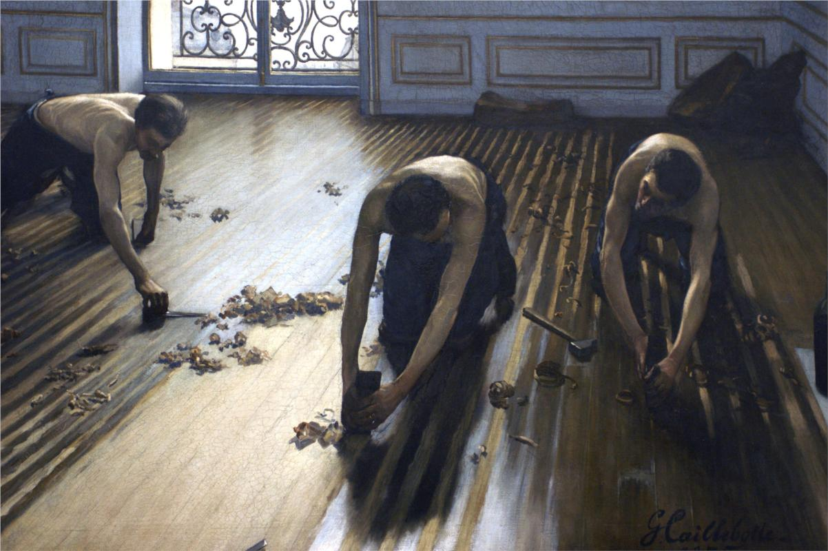 The Parquet Planers, (1875) by Gustave Caillebotte, courtesy of Wikipaintings