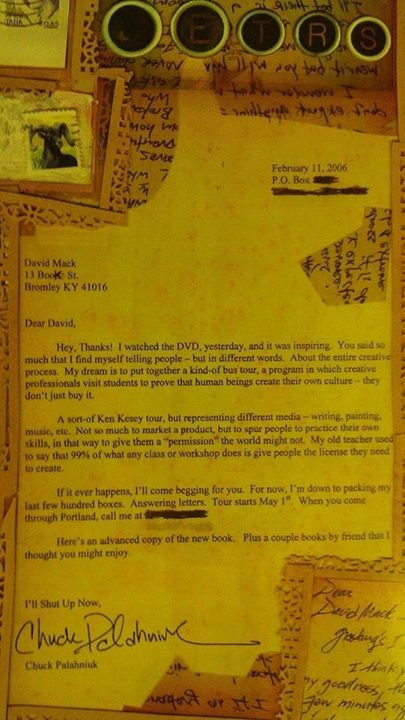 David's letter from Chuck Palahniuk
