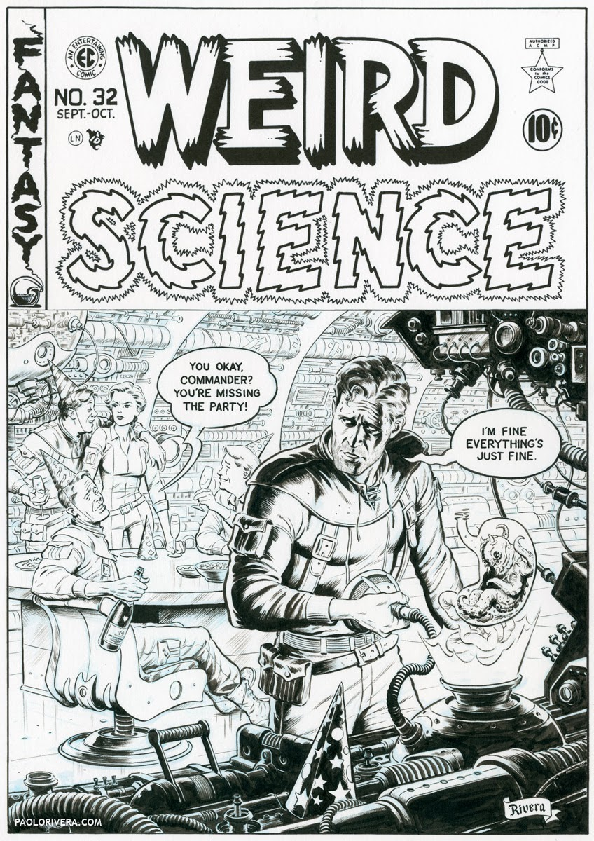 Weird Science tribute cover before color is added
