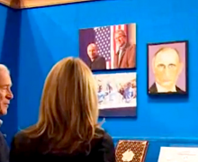 George W. Bush shows off his paintings
