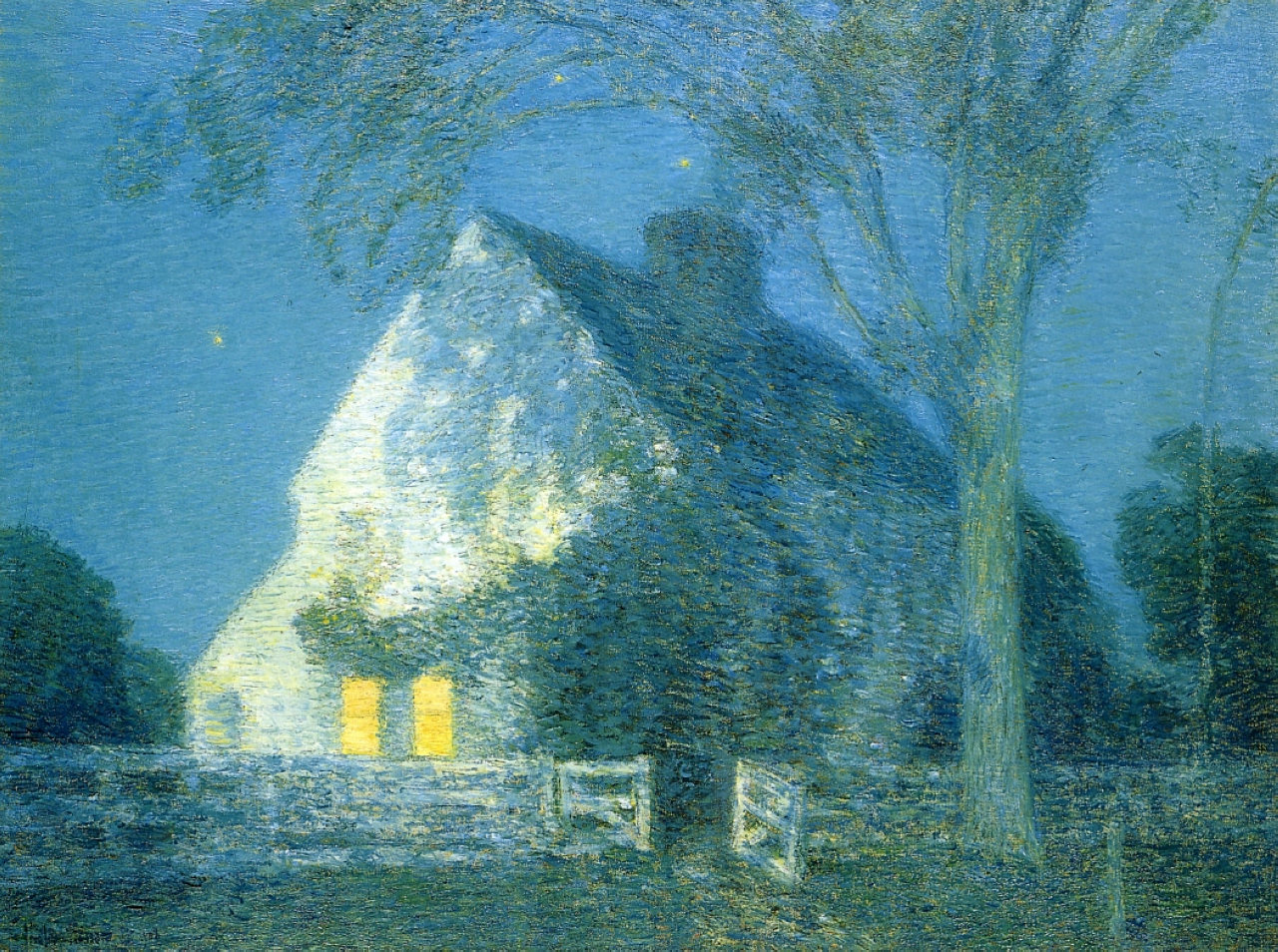 Moonlight, The Old House,  (1906), by Childe Hassam, courtesy of Wikipaintings