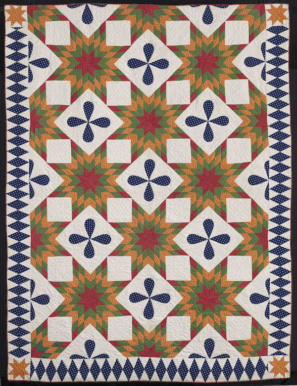 Touching Sunbursts quilt, American, 1854. Pieced printed cotton plain weave top, cotton plain weave backing and binding; quilted. Pilgrim/Roy Collection.