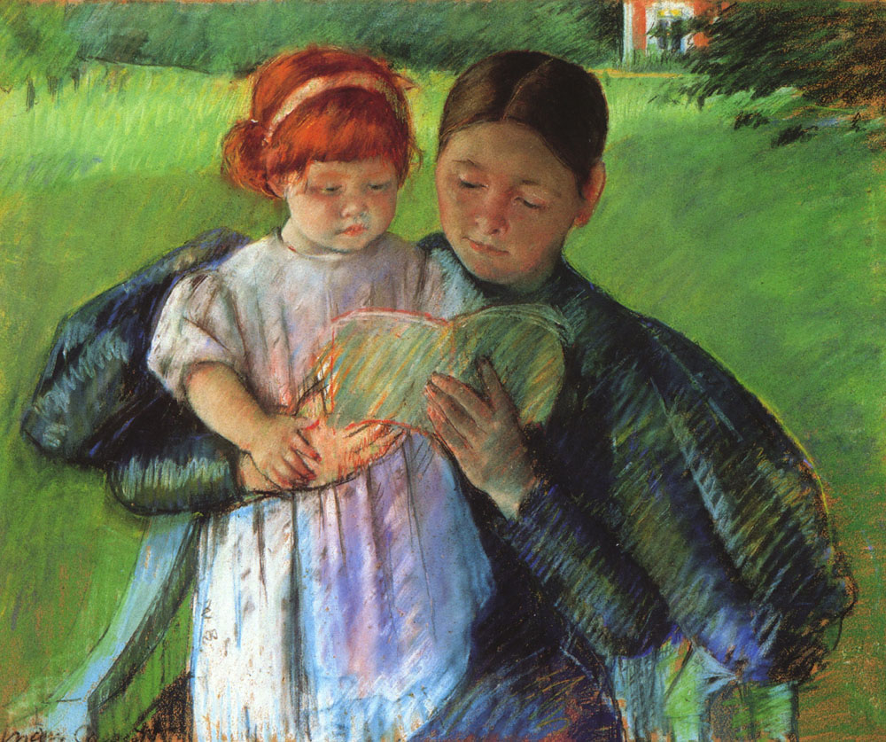 """Nurse Reading to a Little Girl,"" (1895) by Mary Cassatt, courtesy of Wikipaintings"