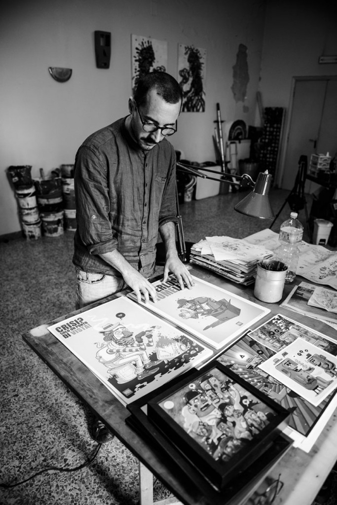 Mr Thoms at work in his Rome studio