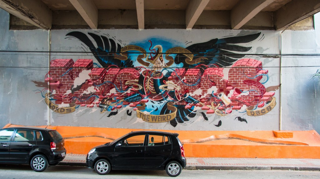 This mural commemorates 15 years of Nychos street art. Sao Paulo, 2014.