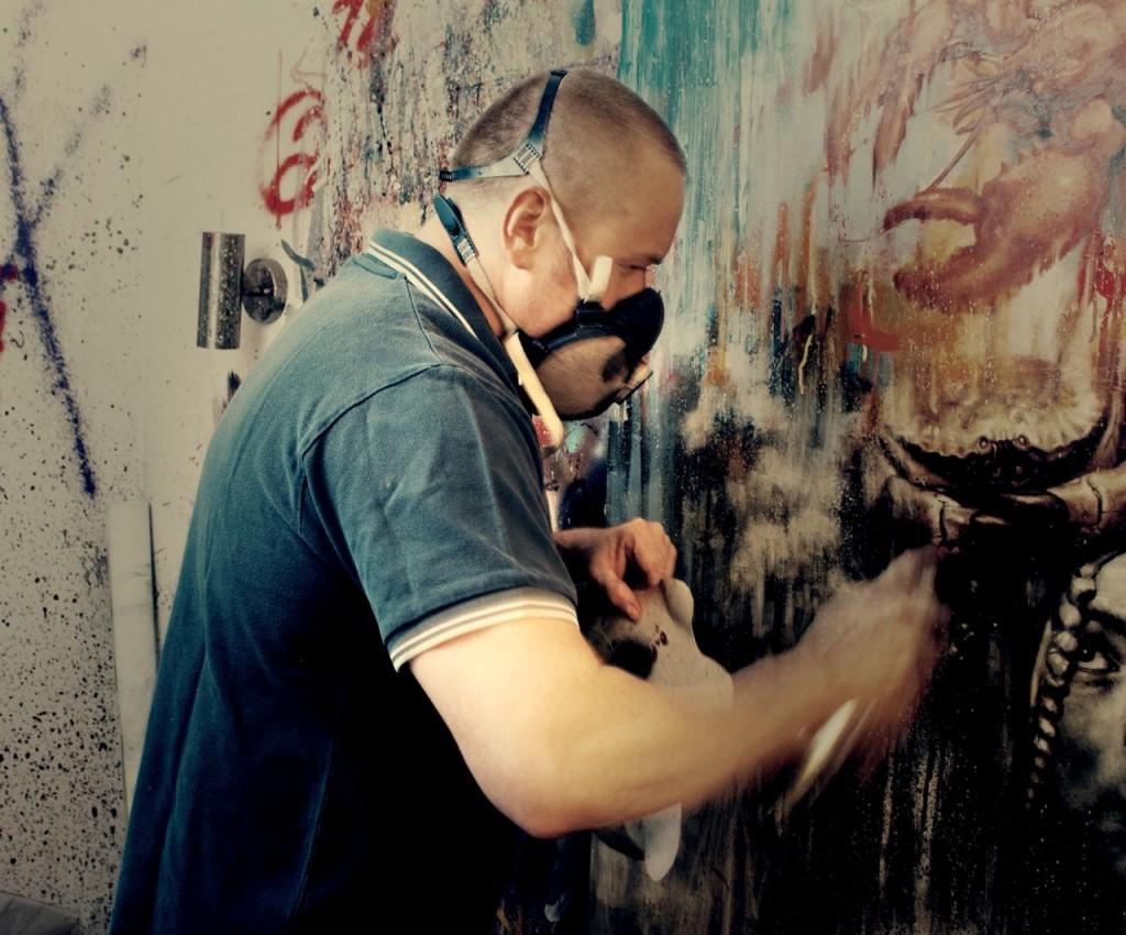 Dale Grimshaw in his studio. Photo: Logan Bannatyne