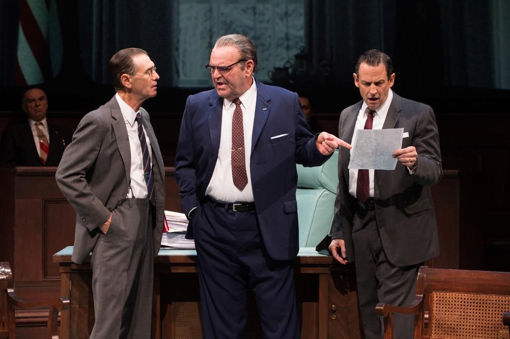 (l-r) Mark Murphey, Jack Willis & Peter Frechette as Robert McNamara, LBJ & Hubert Humphrey, respectively, in THE GREAT SOCIETY