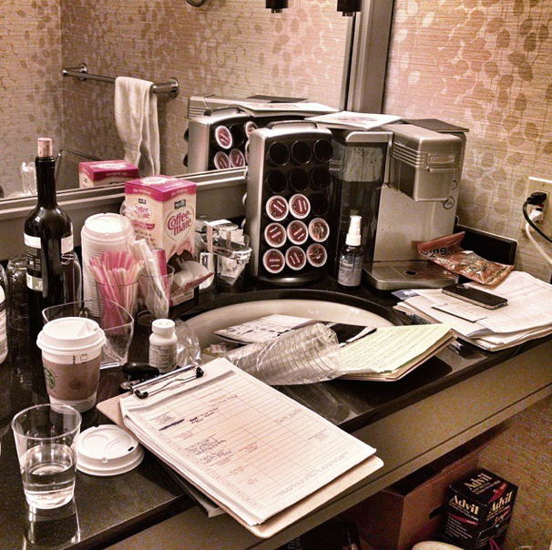 Still life: The sink in a sales agent's suite on the last day of the market, AFM 2014.