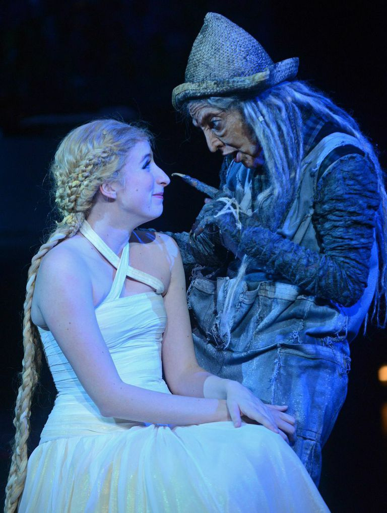 (l-r) Royer Bockus as Rapunzel and Miriam A. Laube as the Witch in INTO THE WOODS