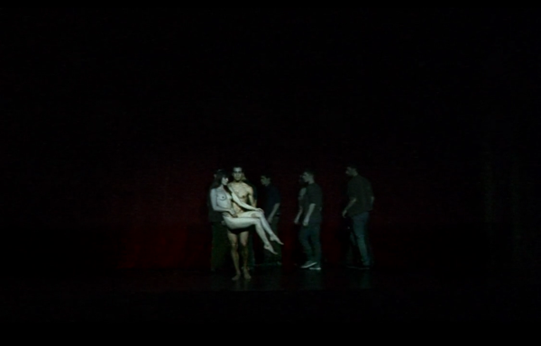 """A man and woman left alone on stage in a moment from """"Nowhere"""""""