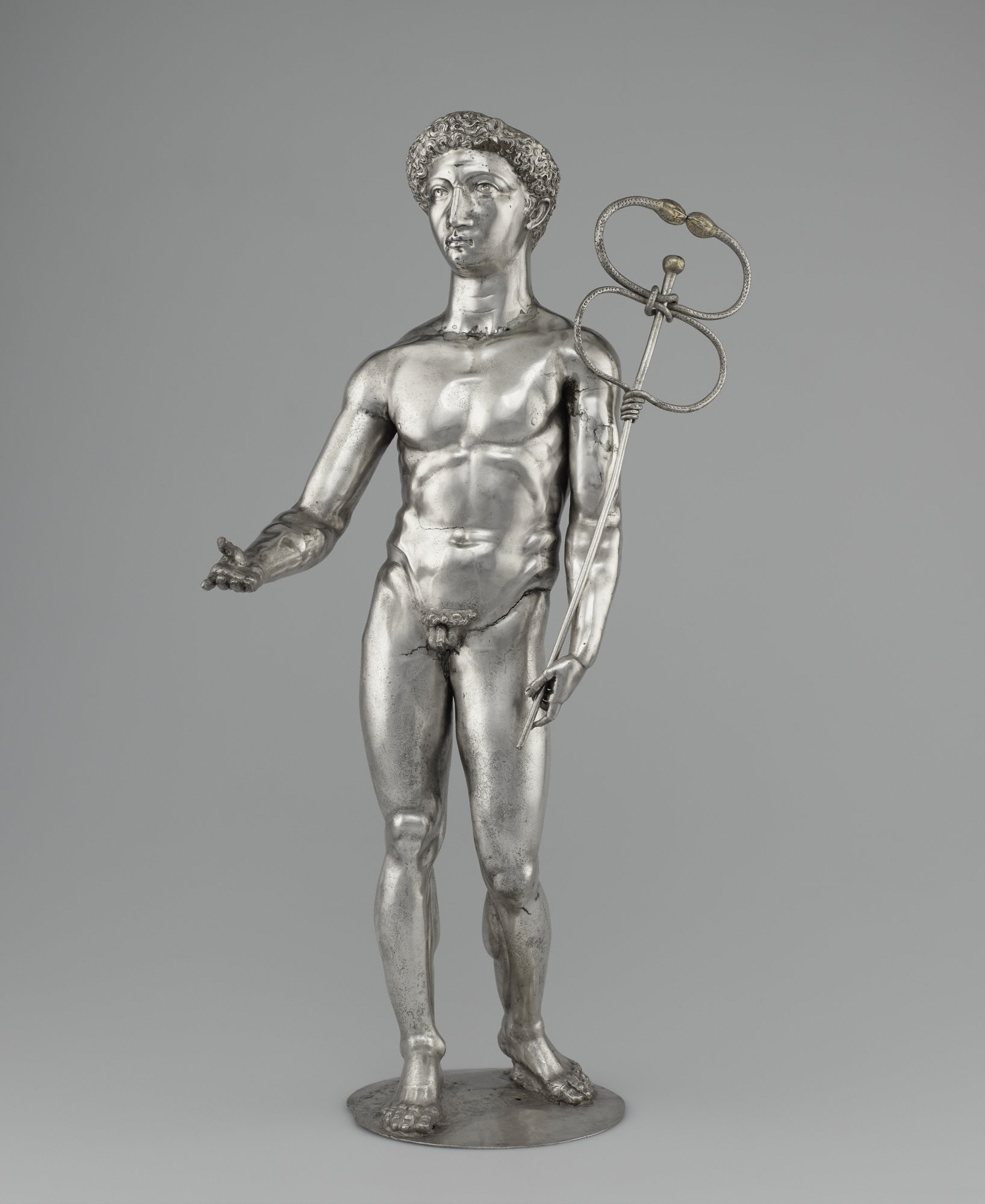 2. Statuette of Mercury, Roman, 3rd century A.D. Silver and gold mounted on an early 19th century wax support. Cabinet de Médailes of the Bibliothèque nationale de France, Département des monnaies et antiques, Paris.