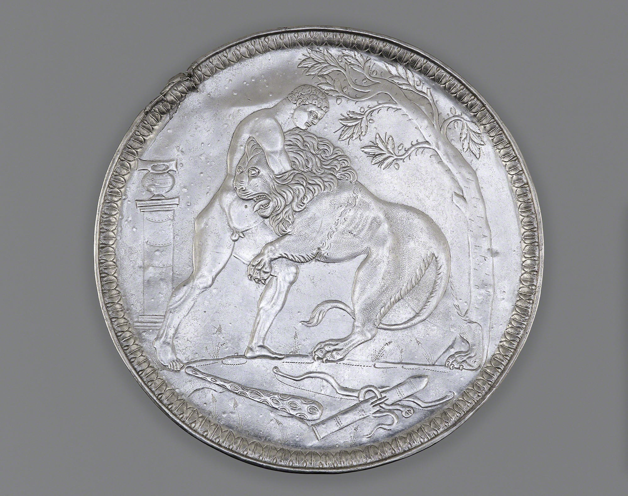 4. Plate with Hercules Wrestling the Nemean Lion, 500-600 A.D. Silver. Cabinet de.Médailes of the Bibliothèque nationale de France, Département des monnaies et antiques, Paris.