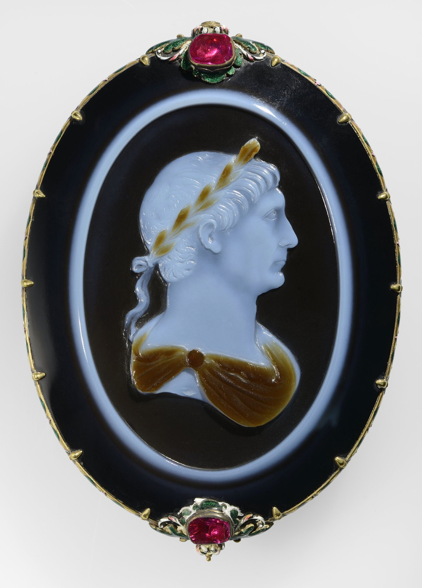 6. Cameo of Emperor Trajan, Roman, about 100 A.D. Sardonyx set in a 17th century gold, enamel and ruby mount. Cabinet de Médailes of the Bibliothèque nationale de France, Département des monnaies et antiques, Paris.