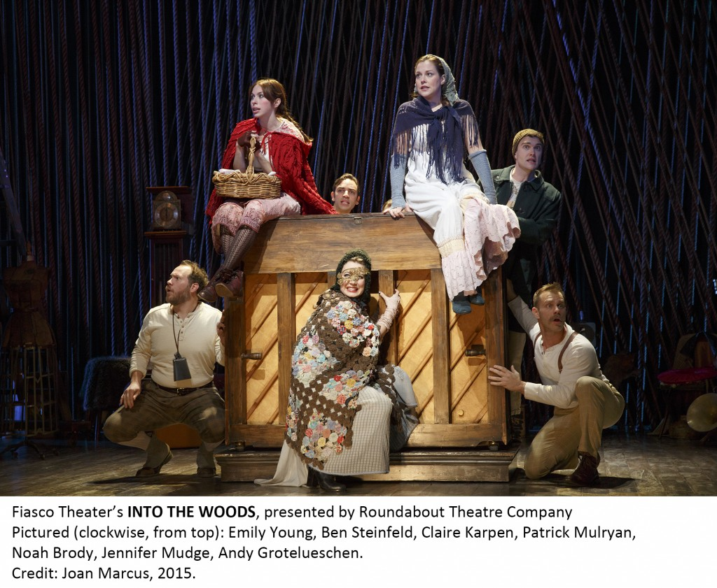 (Clockwise from top): Emily Young, Ben Steinfeld, Claire Karpan, Patrick Mulryan, Noah Brody, Jennifer Mudge, and Andy Grotelueschen in Into the Woods. Credit: Joan Marcus