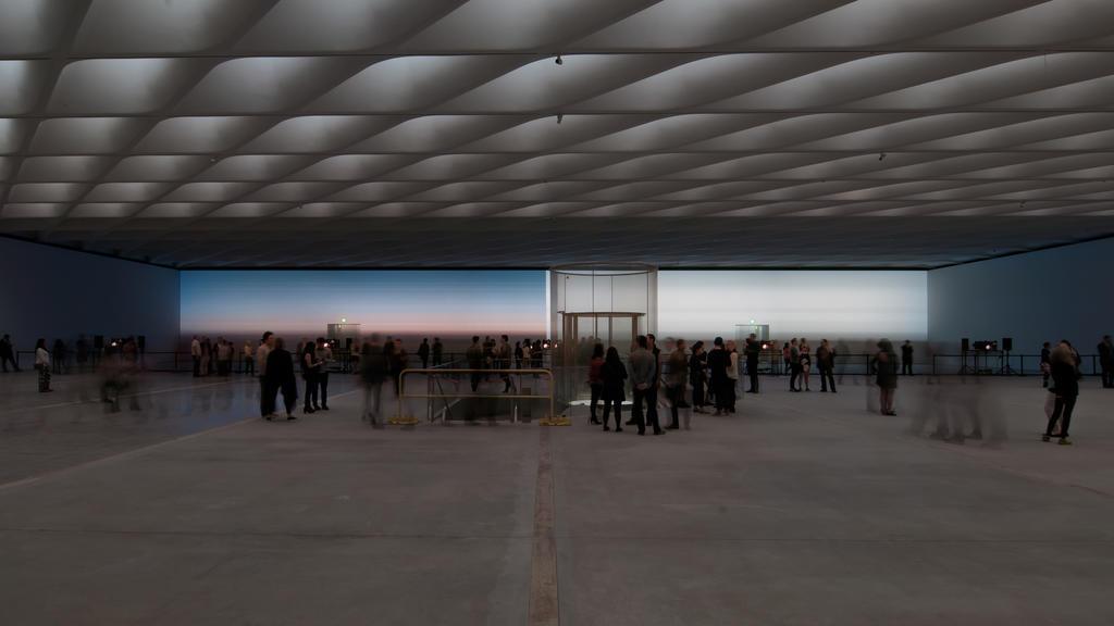 """Third floor exhibition gallery under construction with Yann Novak's """"Stillness"""" seen in the distance. Photo credit: Chris Wormald"""