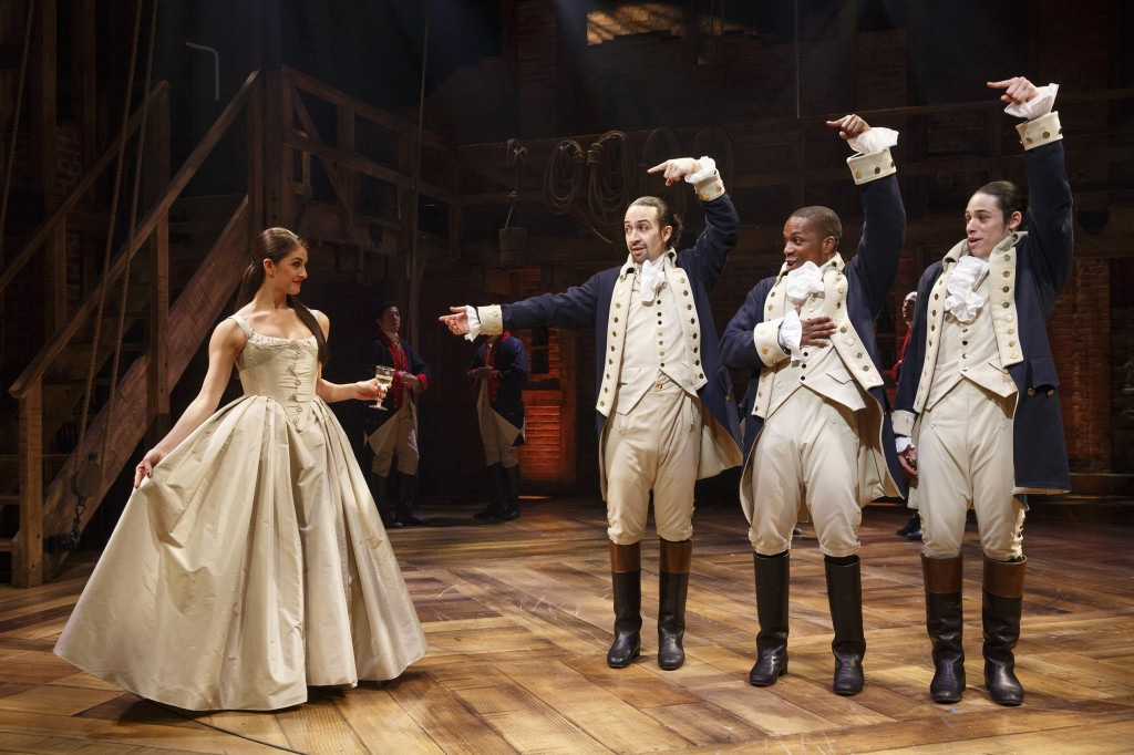 Carleigh Bettiol, Lin-Manuel Miranda, Leslie Odom, Jr., and Anthony Ramos in Hamilton Credit: Joan Marcus