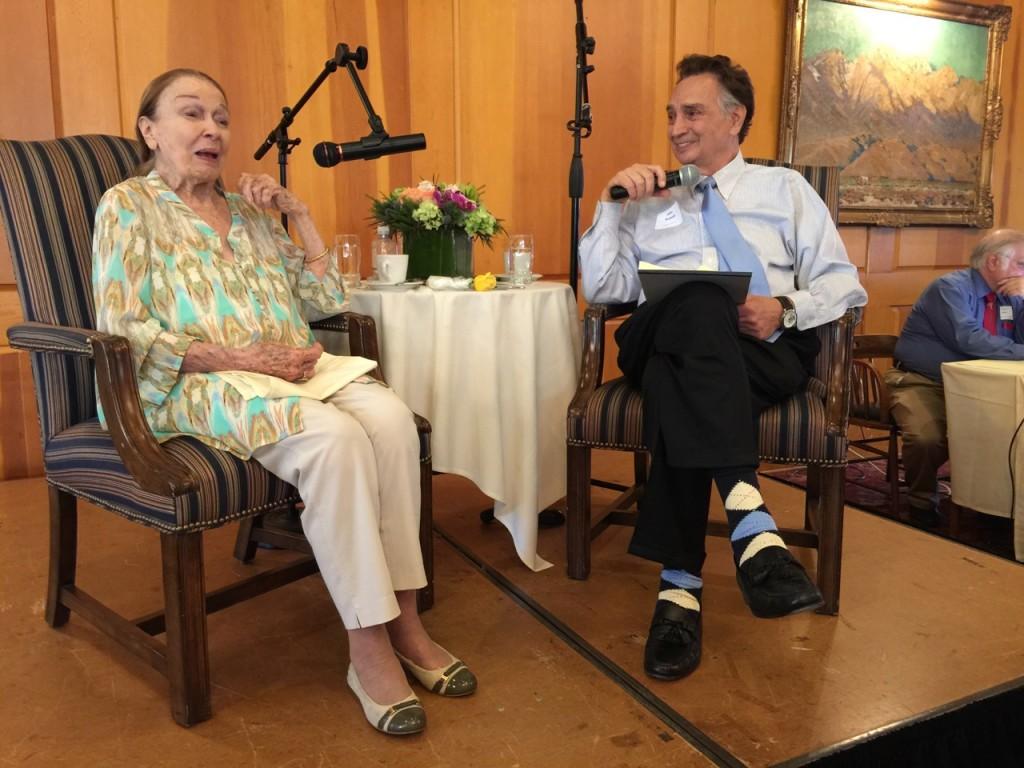 Patricia Morison with director John Bowab at Pasadena's University Club. Photo by Carol Summers.