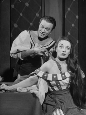 Alfred Drake and Patricia Morison in a hair-pulling moment from Kiss Me Kate