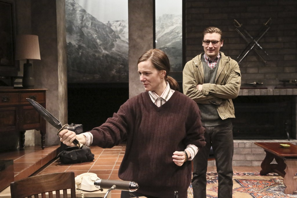 Laura Linney and Seth Numrich in Switzerland at The Geffen Playhouse. Photo by Michael Lamont.