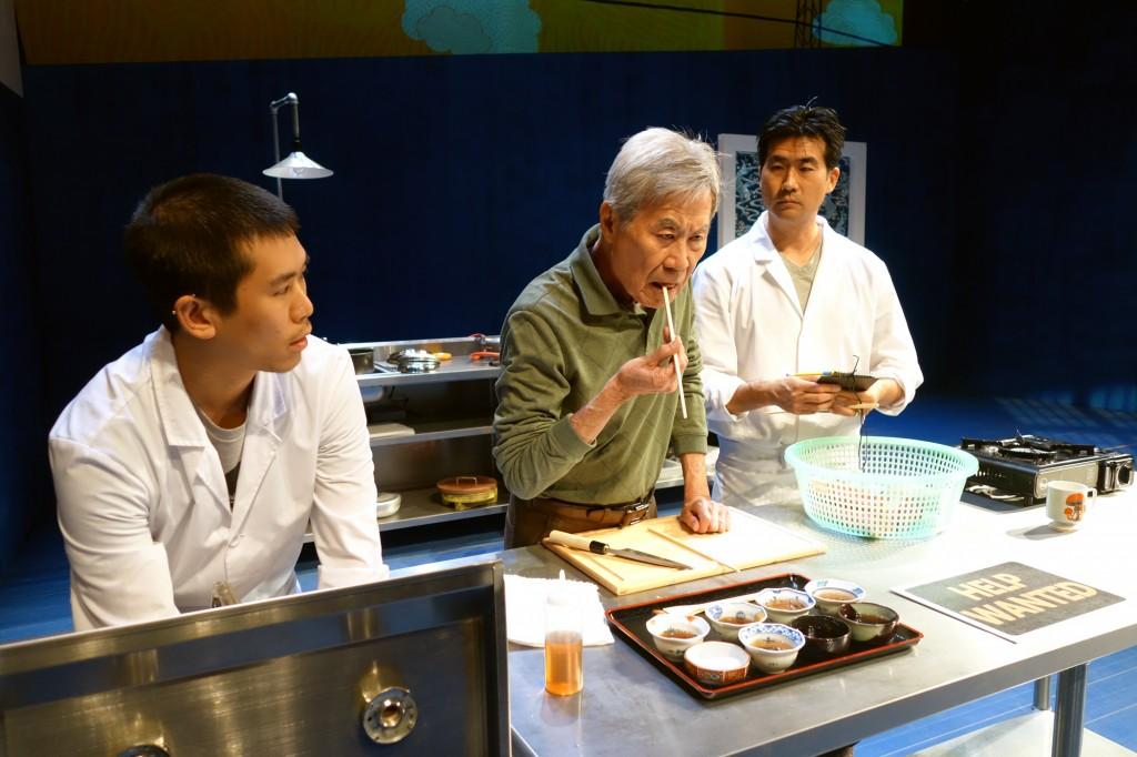 l-r, Lawrence Kao, Sab Shimono and Ryun Yu in tokyo fish story at SCR